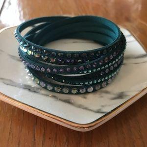 Swarovski Slake Wrap Bracelet in Teal